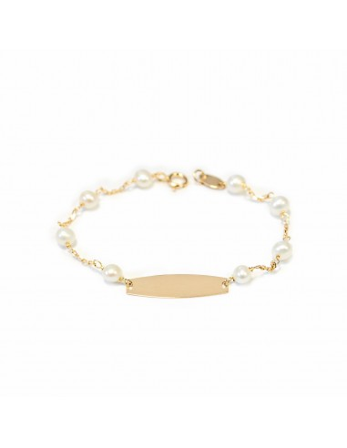 Pulsera Bebe oro chapa lisa con perlas