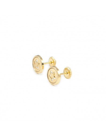 18ct Yellow Gold round star Earrings