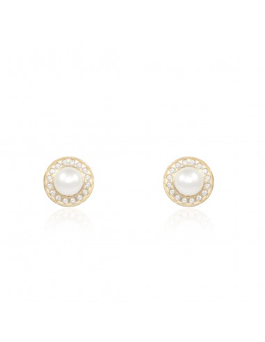 5629cfbd1a84 Pendientes Niña Oro Redondo con circonitas y centro perla