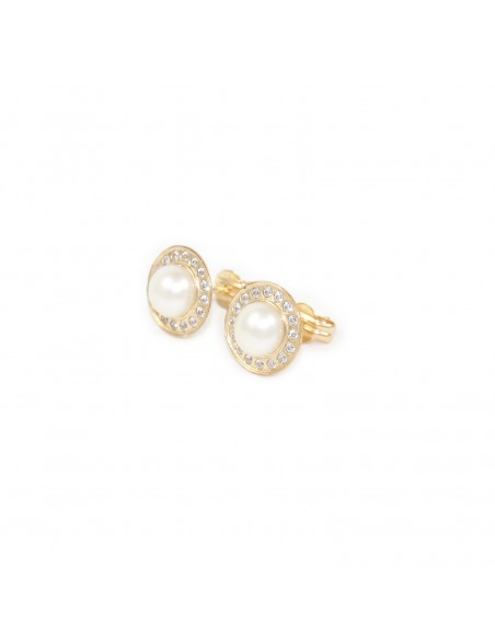 9ct Yellow Gold round and Pearl Earrings