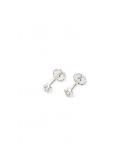18ct White Gold star 3.5 mm baby-newborn Earrings