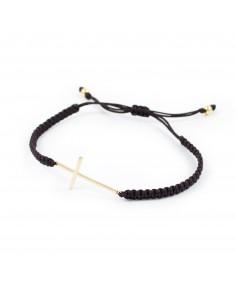 Bracelet croix argent doré en macramé brun