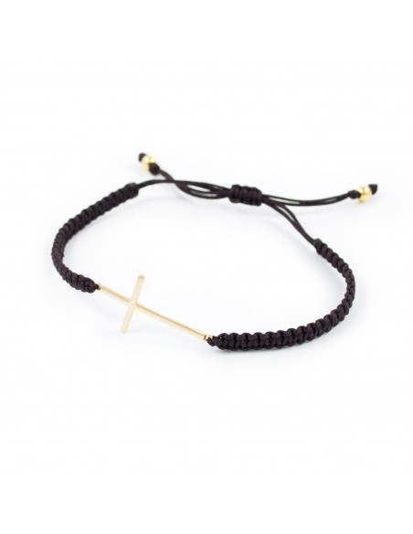 925 Sterling Silver golden cross bracelet brown macrame
