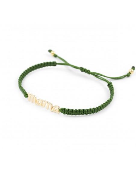 925 Sterling Silver bracelet green macrame