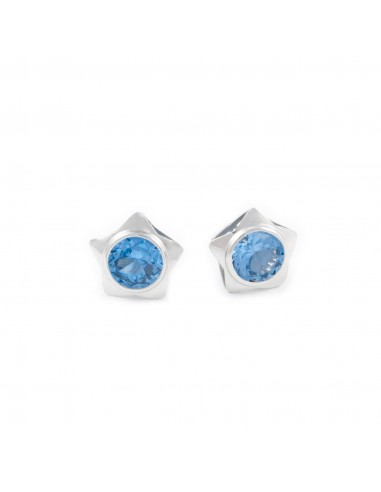 925 Sterling Silver girl Stars aquamarine Earrings