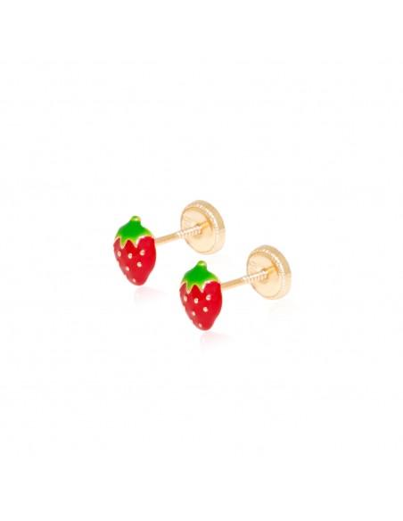 9ct Yellow Gold strawberries Children's Earrings