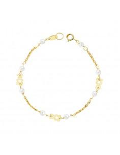 Pulsera bebe oro osito con perlas