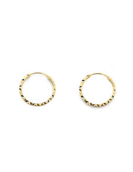 18ct Yellow Gold Hoop 14x1 mm Earrings