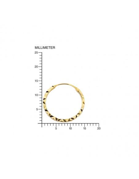 9ct Yellow Gold Hoop 14x1 mm Earrings