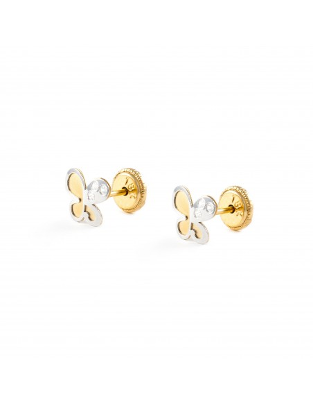 18ct Yellow and white butterfly Gold Children's Earrings