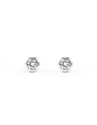 18ct White Gold flower Children's Earrings