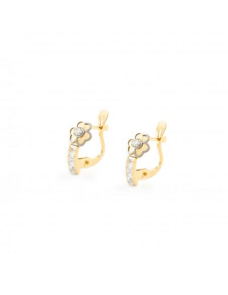 18ct 2 Colour Gold clover Children's Earrings