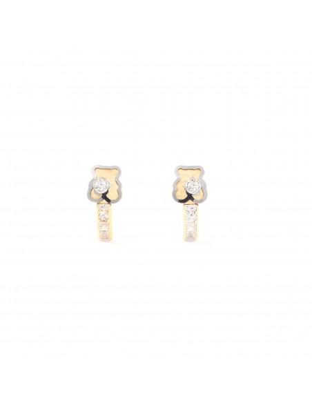 18ct 2 Colour Gold bear Children's Earrings