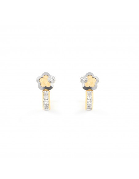 18ct 2 Colour Gold flower Children's Earrings