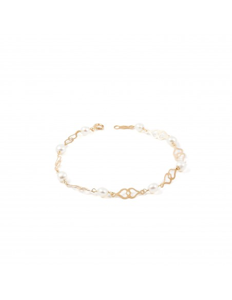 9ct Yellow Gold heart and pearl Bracelet