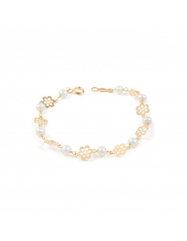 9ct Yellow Gold Baby flowers Bracelet
