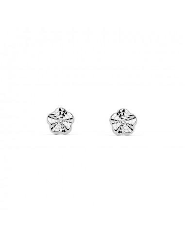 18ct White Gold Flower Baby Earrings