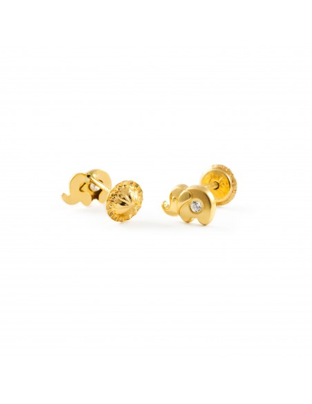 18ct Yellow Gold elephant Children's Earrings