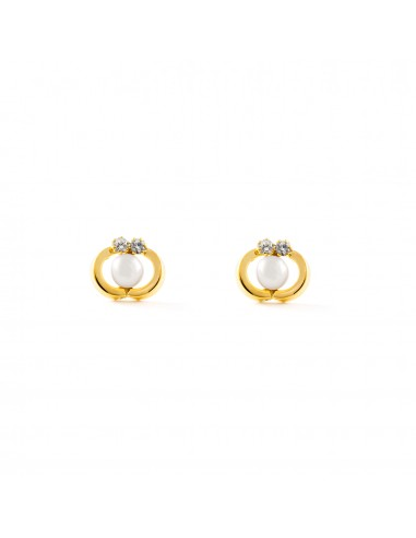 18ct Yellow Gold pearl Children's Earrings