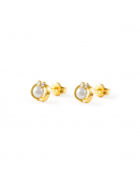 9ct Yellow Gold pearl Children's Earrings