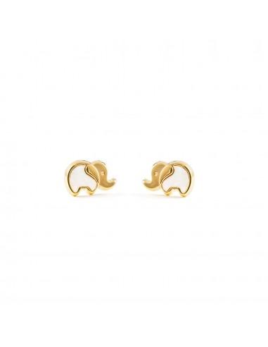 18ct Yellow Gold elephant nacre Children's Earrings