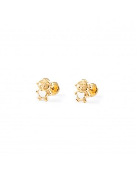 9ct Yellow Gold doll nacre Children's Earrings