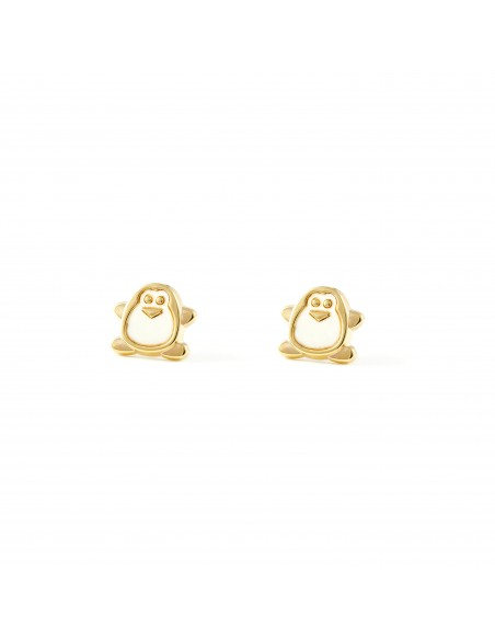 9ct Yellow Gold penguin nacre Children's Earrings