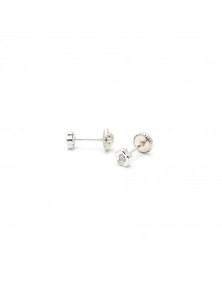 18ct White Gold flower Newborn Earrings