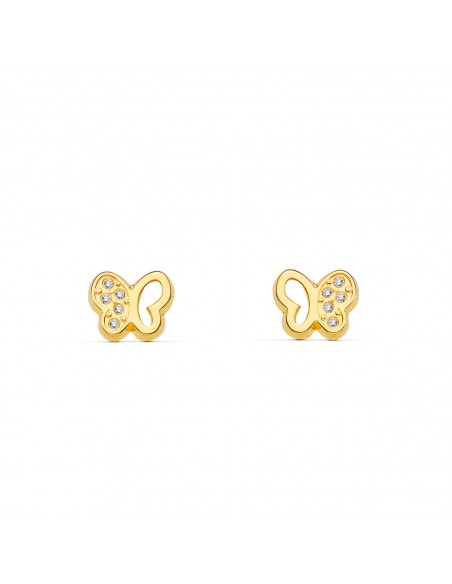 9ct Yellow butterfly Gold Children's Earrings