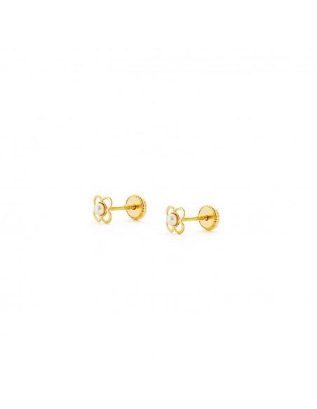 Boucles d'Oreilles Enfant trèfle et perle Or Jaune 18 Carats
