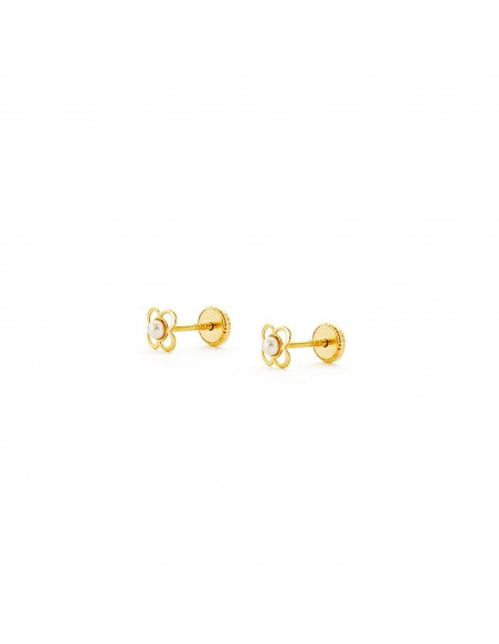 18ct Yellow Gold Trebol pearl Baby Earrings