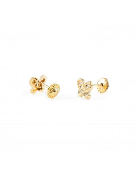 9ct Yellow butterfly Gold Children's Earrings