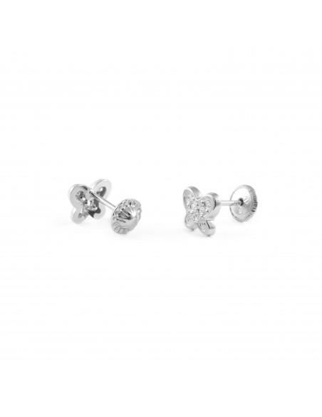 9ct White butterfly Gold Children's Earrings