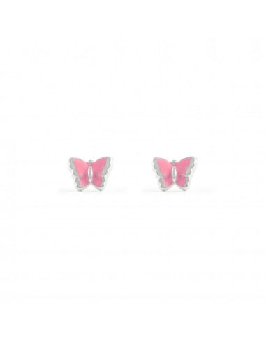 4f2ce2be89b4 Pendientes para niña en Plata de mariposa esmaltada en rosa
