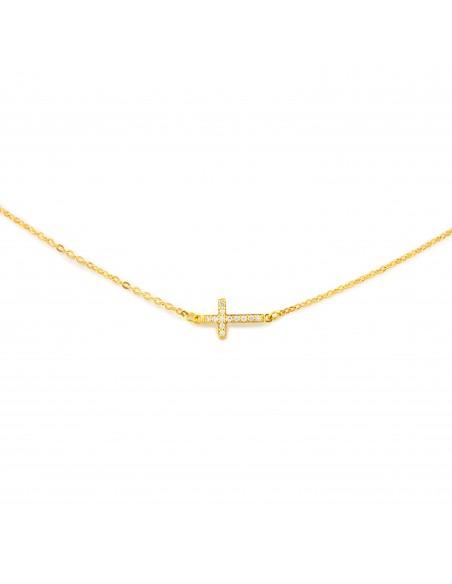Cadena cruz horizontal en circon para niña o mujer