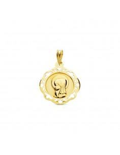 Medalla Oro Redonda Virgen Niña cerco calado