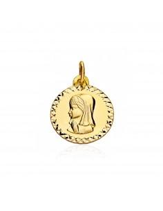 Medalla Oro redonda Virgen Niña cerco texturado (9kts)