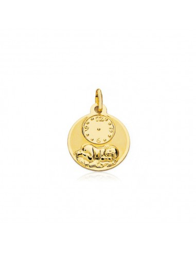 Medalla Oro redonda Angelito con reloj (9kts)