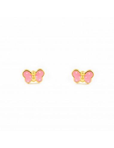 Boucles d'Oreilles Enfant papillon émail rose Or Jaune 9 Carats