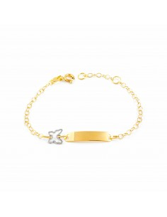 18ct two color Gold Baby Bangle butterfly Bracelet
