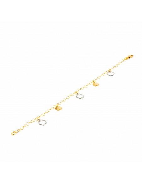 Bracelet fleur Or bicolore 18 Carats
