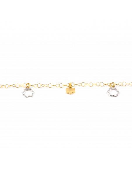 Pulsera niña oro bicolor con flores caladas y lisas