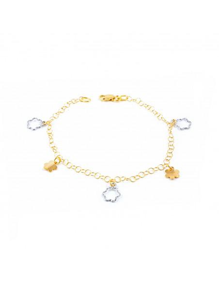 18ct 2 Colour Gold flowers charms Bracelet