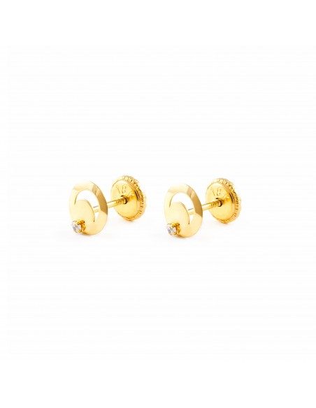 18ct Yellow Gold round Children's Earrings