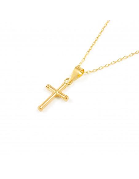 Cruz Oro Lisa pequeña 15x9 mm
