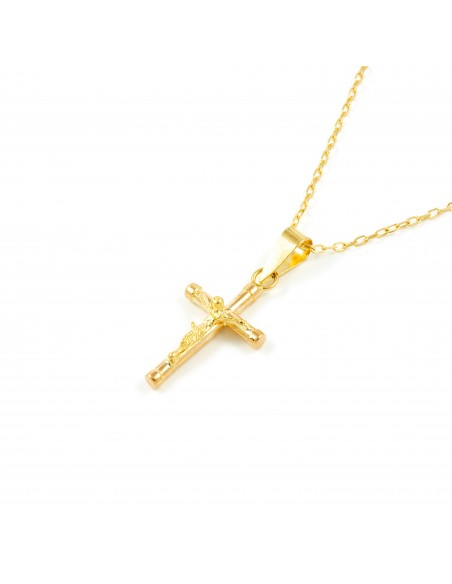 18ct Yellow Gold Cross with Christ 16x10 mm