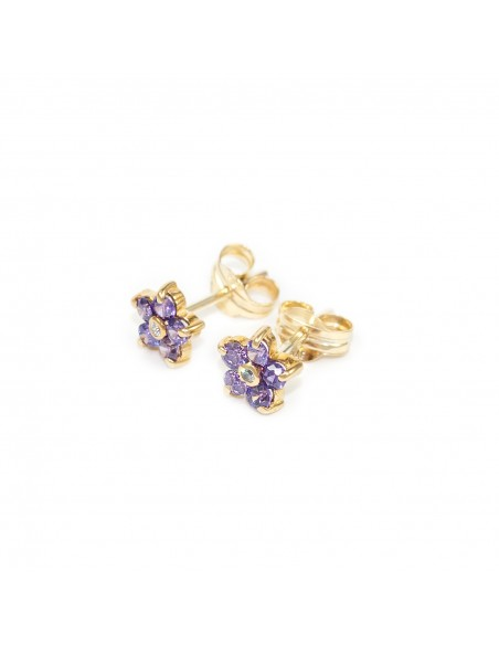 9ct Yellow Gold flower Amethyst Earrings