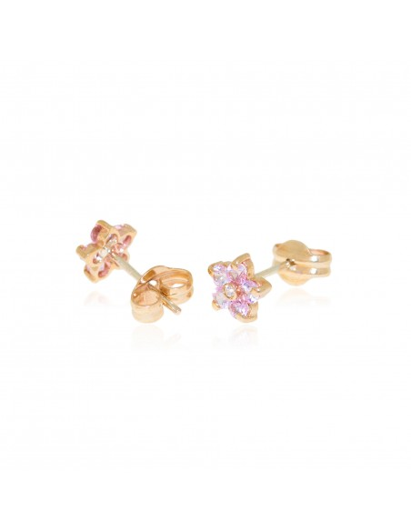 9ct Yellow Gold flower pink Earrings