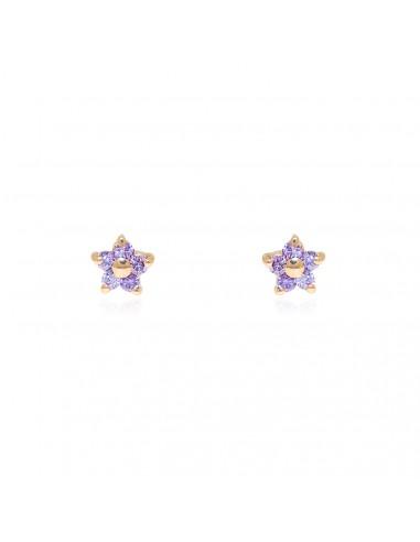 9ct Yellow Gold flower Amethyst Earrings