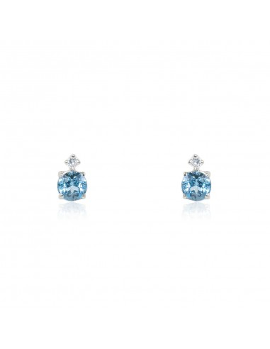 9ct White Gold girl aquamarine Earrings